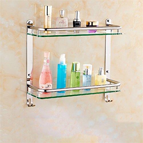 Badezimmer Regal Edelstahl-Badezimmer Regal Glas Badezimmerwandbefestigungen Sicherheit abgerundete Ecken (Color : 61 * 38CM) - Sicherheits-glas-regale