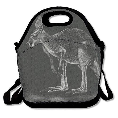 Isolierte Känguru (Dozili Känguru schwarz und weiß Tiere Malerei Kunst groß & dick Neopren Lunch-Taschen Isolierte Lunch-Taschen Kühltasche Warm Tasche mit Schultergurt für Frauen Teenager Mädchen Kinder Erwachsene)