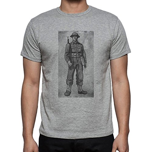 Pencil Sketch Army Guy Herren T-Shirt Grau