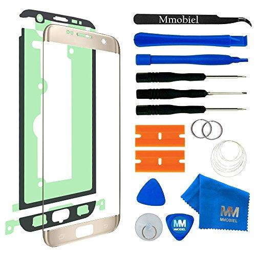 MMOBIEL Front Glas Reparatur Set kompatibel mit Samsung Galaxy S7 Edge G935 Series (Gold) Display mit Werkzeug-Set Samsung Lcd Back Cover