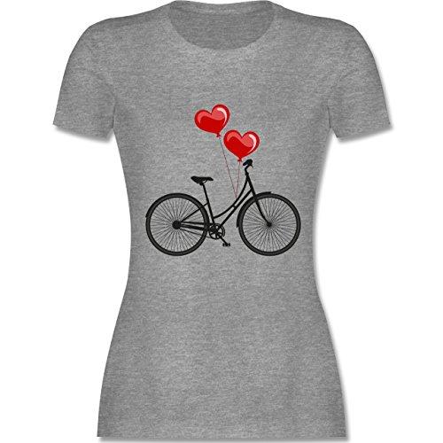 Vintage - Fahrrad Herz Luftballons - XXL - Grau meliert - L191 - Damen T-Shirt Rundhals