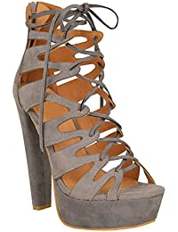 704127e5de0b Fashion Thirsty New Womens Ladies High Heel Platform Gladiator Sandals Lace  Up Ankle Shoes Size