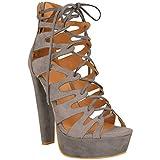 New Womens Damen High Heels Plattform Gladiator Sandalen Schnür Stiefel Schuh Größe - Grau Kunstwildleder, 39