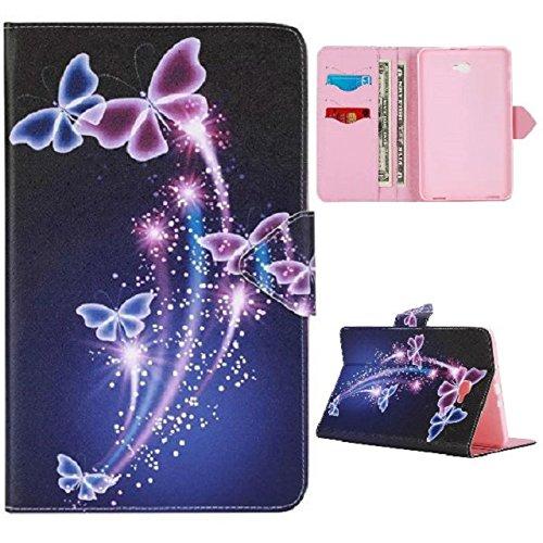XITODA Samsung Galaxy Tab A6 10.1 Hülle,PU Leder Flip Case Bookcover Hülle für Samsung Galaxy Tab A 10,1 Zoll T580N / T585N Tablet (2016 Version) Schutzhülle Schale Etui(Lila Schmetterling)