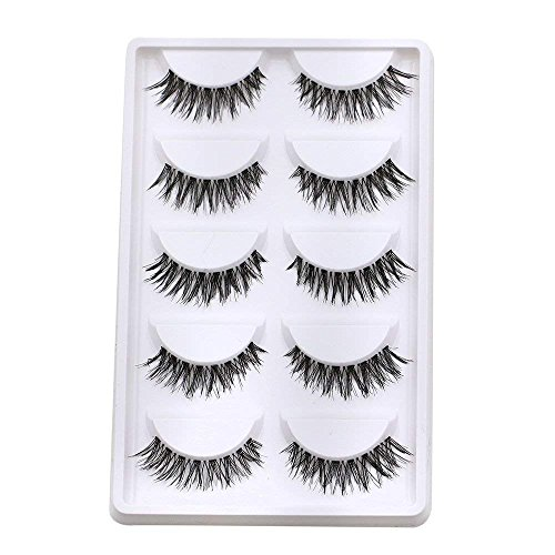 5 Pairs Makeup Necessay Soft Black Cross Long False Eyelash Eye Lash Extension by Phoenix b2c