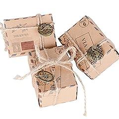 Idea Regalo - 100pz Scatoline Cubo Scatole Portaconfetti incluso Corda di Canapa Ciondoli Vintage Bomboniere Segnaposti Regalo per Inviti