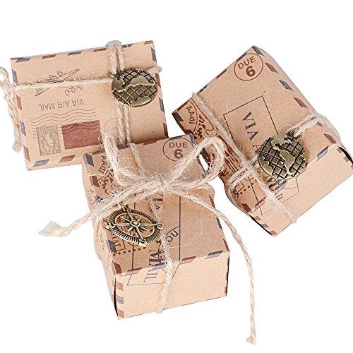 100pz scatoline cubo scatole portaconfetti incluso corda di canapa ciondoli vintage bomboniere segnaposti regalo per inviti
