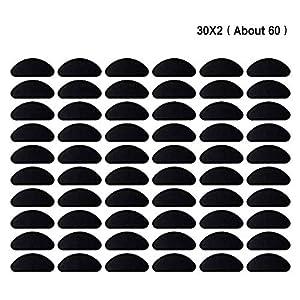 Xinfang Nasenpads Silikon Anti-Rutsch Brille Zubehör Klebepads Nasenpads (Transparent und Schwarz, 1 mm, 60 Paar)
