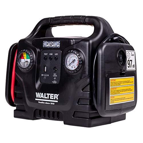 Walter Autostartgerät mit Kompressor/Autobatterie Starthilfe/inklusive 12 Volt Anschluss für Batterien/Akkus und Geräte -