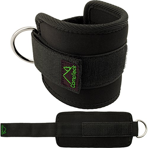 CampTeck U6831 D-Ring Wrist Wraps Fußschlaufen Neopren verstellbare Ankle Straps für Fitness Training, Fitnessstudio, Kabelzug maschine, Pobacken, Bein- & Bauchmuskeltraining - Schwarz, 1 Paar