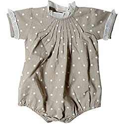 VITIVIC Lucas, Vestido Bebé, Gris Lunares, 3 Meses