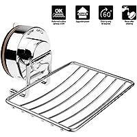 Annstory Porte-savon en acier inoxydable avec Chromé ventouse Support de douche Caddy de distributeur de savon Super-Lock, pour salle de bains et cui (Porte-savons)
