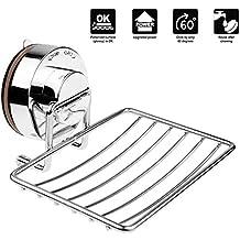Annstory Porta sapone in acciaio INOX, a ventosa, da doccia, Bagno e accessori da cucina, Argento