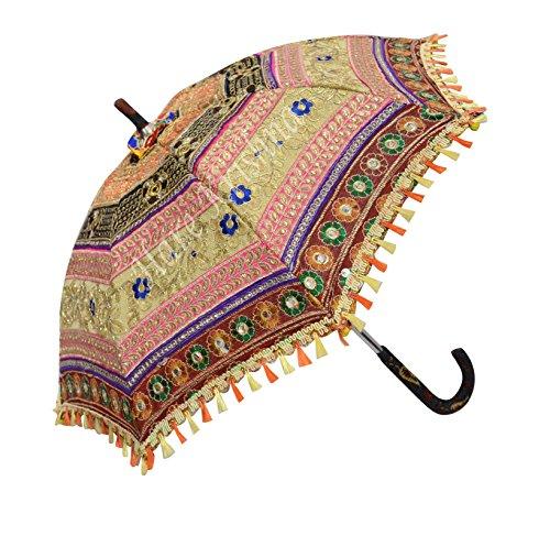 Hare krishna seta indiana zari donne ricamate ombrello colorato ombrellone pieghevole ombrello 61 x 71 cm