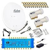 FUBA 12 TEILNEHMER DIGITAL SAT ANLAGE DAA850W + 0,1dB LNB FULL HDTV 4K + PMSE Multischalter 9/12 + 40 Vergoldete F-Stecker Gratis dazu