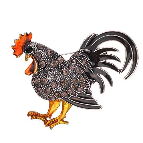 Yinew Vintage Rooster Brosche Hahn Pins Revers Brosche Strass Tier Multicolor Realistische Unisex Kleidung Rucksäcke Dekor Morgen Hahn