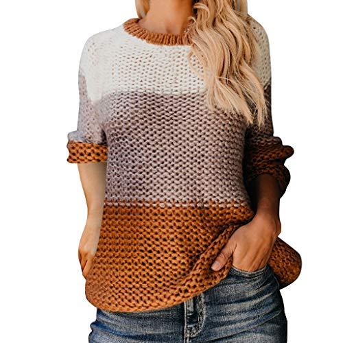 1970's Women's Kostüm - ODRD Damen Color Block Oversized Crewneck Sweaters Striped Long Sleeve Loose Chunky Knitted Pullover Jumper Tops Womens Sweater Herbst Winter S/M/L/XL/XXL