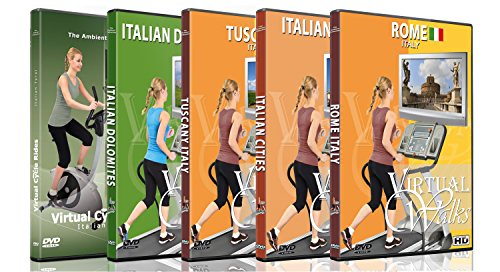 5 Disc Set DVD Italian Combo Pack - Virtual Walks and Cycle Videos of Italy for Indoor Walking Workout or Cycling Rides -