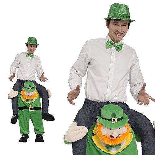 Piggyback Kostüm Herren irischer Kobold Zwerg Leprechaun Ride On Maskottchen JGA Stag Night