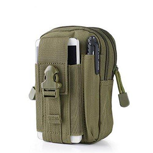 Outdoor Climbing Borsa da Campeggio,Kword Uomini in Vita Hip Cintura Borsa Tattica Militare Molle Portafogli Borsa del Telefono Custodia Per Iphone 7 Per Samsung Verde