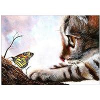 Vosarea DIY 5d Diamant Pintura Tres Soeur Brillantes Pintura de Punto de Cruz Kit Home Wall Decoration Craft ( Cat (