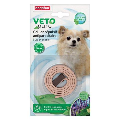 Beaphar - VETOpure, collier répulsif antiparasitaire - chien et chiot - beige