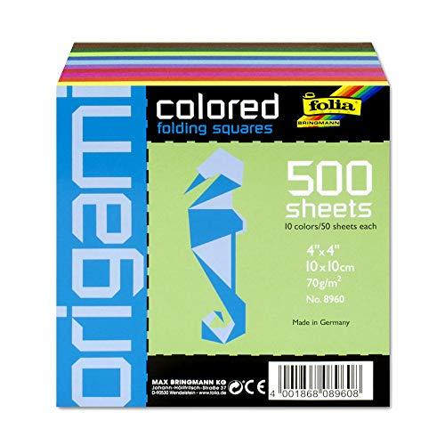folia 8960 - Faltblätter eckig, 10 x 10 cm, 70 g/qm, 500 Blatt sortiert in 10 intensiven Farben - ideal zum Papierfalten und für andere kreative Bastelarbeiten