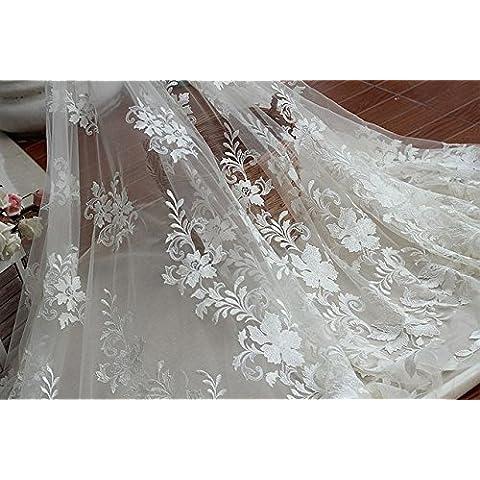 Tessuto nuovo libero shipping145cmWidth avorio Vintage pizzo ricamato con motivi floreali, High-end di lusso di (Dobby Pizzo)