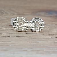Sehr kleine Mini Ohrstecker mit handgebogener Spirale mit 0,7 oder 1,0 cm Durchmesser / Zweit Stecker / für Damen, Männer oder Kinder / Echt Silber / Design und Handarbeit von Silber & Stein