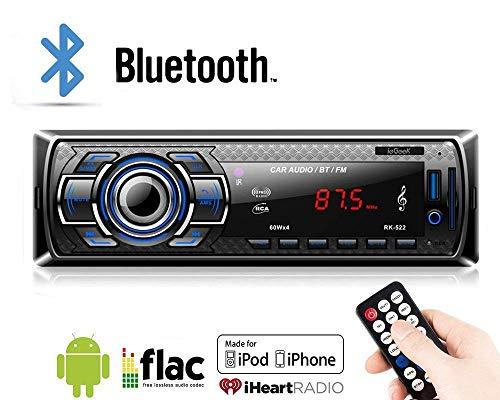 Lypumso Bluetooth Autoradio für Das Armaturenbrett, 1 DIN ISO Stecker mit kabelloser Fernbedienung, Autoradio FM-Radio, MP3-Player, AUX Audio mit USB SD MMC Port Autoradio (Platte Kanadische)