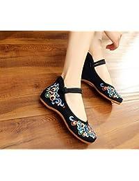 DESY Chaussures brodées, semelles tendineuses, style ethnique, chaussures en tissu féminin, mode, confortable, décontracté dans l'augmentation