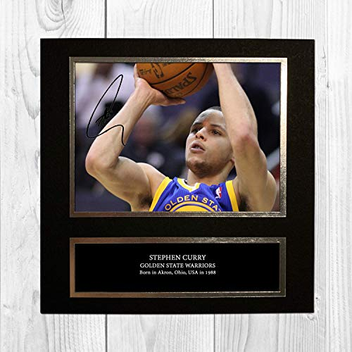 381b9f97de5a1 Stephen Curry - Golden State Warriors - NBA 1 NDB Signed Reproduction  Autographed Wall Art - 10 Inch x 10 Inch Print (Card Mounted)