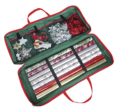 Christmas Corner Custodia a sacca per riporre rotoli di carta da regalo e altri accessori natalizi, 82 x 34 x 13 cm, per carta, etichette e fiocchi