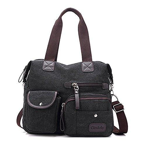 Schwarz Canvas-tasche (Gindoly Damen Canvas Handtasche Groß Modisch Umhängetasche Multi Tasche Schultertasche Hobo für Reisen Schule Shopping und Arbeit(Schwarz EINWEG)