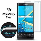BlackBerry PRIV protection écran, Conmdex 3d Couverture complète protection d'écran en verre trempé pour Blackberry PRIV Curvy protection d'écran en verre 9H anti explosion (Transparent)
