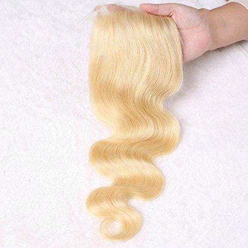 4x 4Bleach Blonde Spitze Schließung Malaysischen Echthaar Virgin Remy Human Body Weave Full Lace Haarteil gratis Teil Pure 613Honig Blonde fronthaar Drehverschluss 20,3–50,8cm mit Baby Haarspange (Malaysischen Lace Front Perücken)
