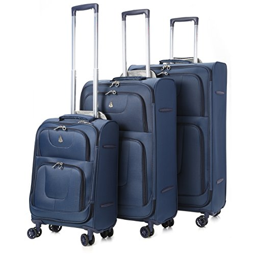 Aerolite Super Lightweight 8 Wheel Spinner Luggage Suitcase Travel Trolley Cases (Navy, 21″ Cabin + 26″ + 29″, 3 Piece Set)