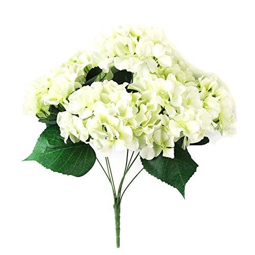 Seide Haufen (Hunpta Künstliche Hortensie Seide Fake 7 Köpfe Haufen Bouquet Home Hotel Hochzeit Party Blumengarten florales Dekor (Weiß))