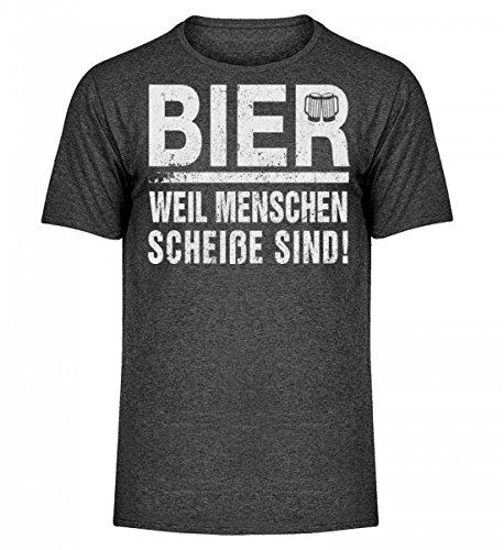 Camicia Melange Da Uomo Di Alta Qualità - Birra Perché Le Persone Sono Cagate! Screziato Di Grigio Scuro