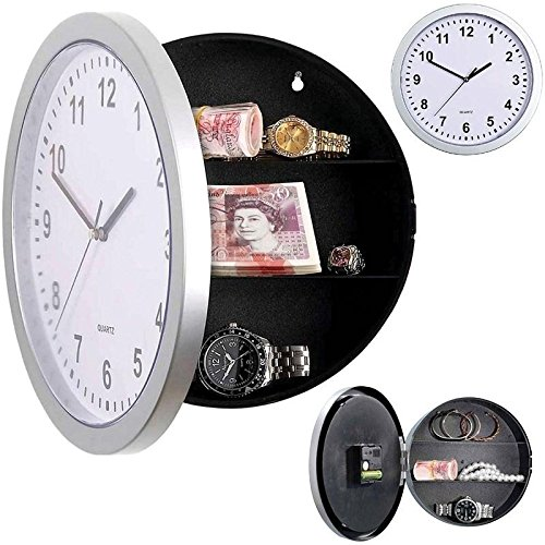 Kicode Creative Hidden Secret Wall Clock Safe Money Stash Jewellery Stuff Storage Container Box