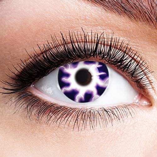 Farbige Kontaktlinsen Lila Motivlinsen Ohne Stärke mit Motiv Linsen Halloween Karneval Fasching Cosplay Kostüm Purple Electric Light