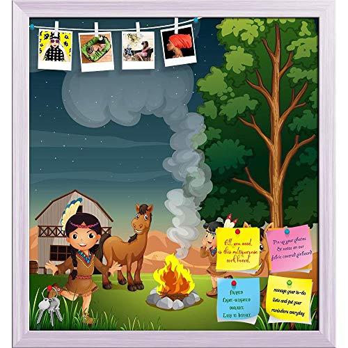 Indian Girls Printed Bulletin Board Notice Pin Board | White Frame 20 X 21.6Inch ()