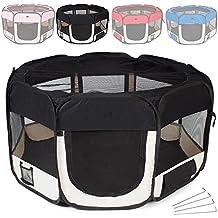 TecTake Parque para cachorros recinto parque para animales perros gatos negro