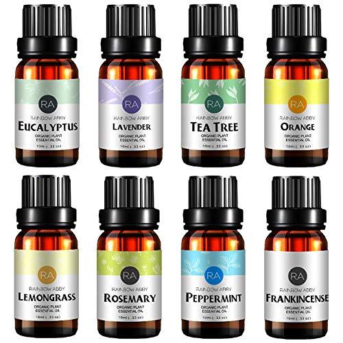 Top 8 Aromatherapie Öl 100 Rein, Beste Therapeutische Klasse Öl - 8X10 ML - (Lavendel, Teebaum, Eukalyptus, Zitronengras, SüßEn Orangen, Pfefferminze, Weihrauch, Rosmarin) -