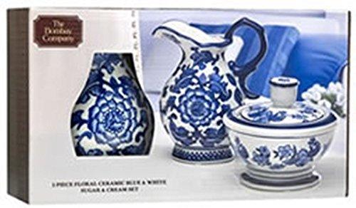 The Bombay Company Zuckerdosen-Set aus Keramik, Blumenmuster, Blau/Weiß - Bombay Cream