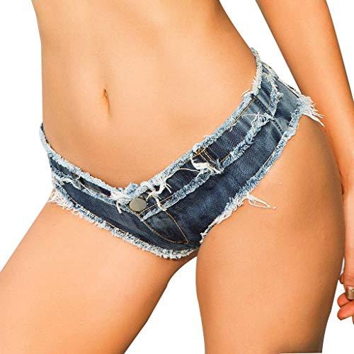 VRTUR Damen Hotpants Booty Shorts Unterwäsche Wetlook Lack Leder Design Lederoptik Kurz Hosen(Medium,Y-Blau)