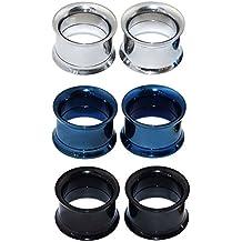 Longbeauty - 3 pares de pendientes de acero inoxidable para dilataciones, varios colores a elegir