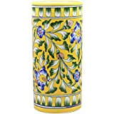 Blue Pottery Vases & Pots /Handmade & Hand Decorated Ceramic Pots & Vases/ Yellow Cylindrical Vases & Pots /Use For Home/Kitchen/Office Décor/Personal & Corporate Gifting