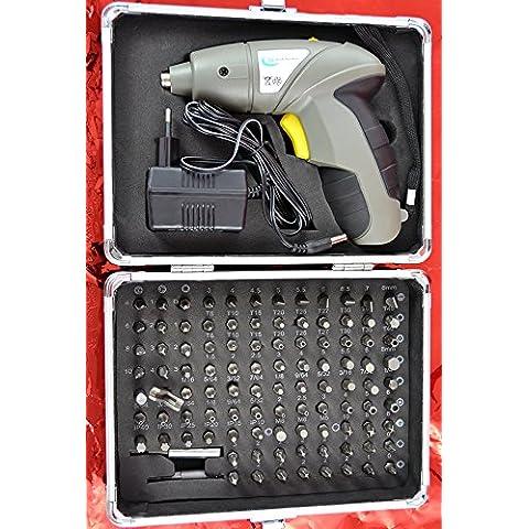 Amur - Lote de maletín con mini-atornilladora eléctrica y puntas (luz LED, 104 puntas, maletín de aluminio, 4,8 V, NiCd, 600 mAh)
