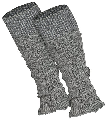 Piarini 1 Paar Bein Stulpen Damen | warme Beinstulpen Strick | silber